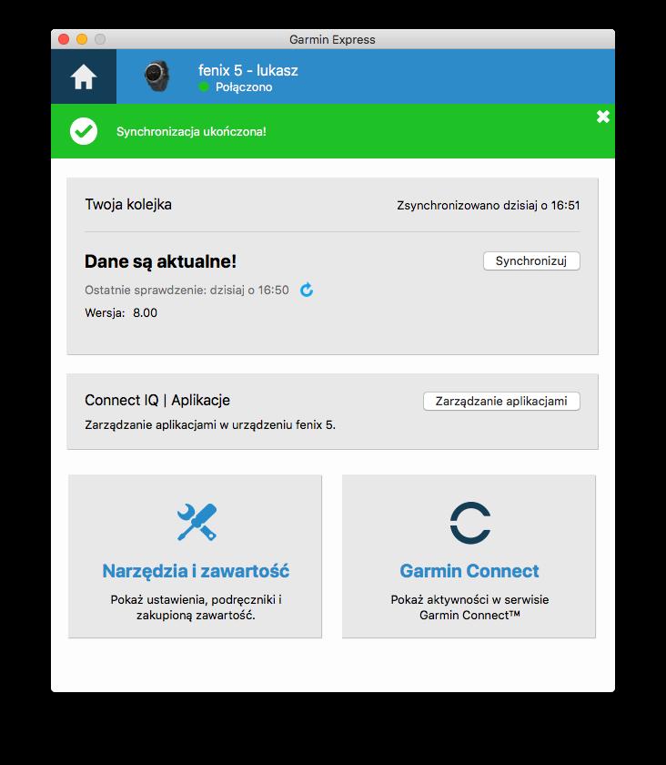 aktualizacja oprogramowania fenix 5