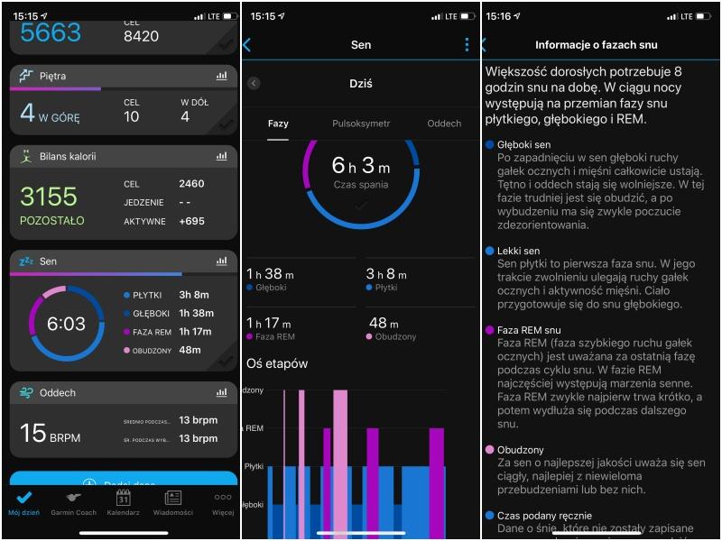 Analiza snu w Garmin Connect Mobile